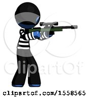Blue Thief Man Shooting Sniper Rifle