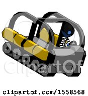 Blue Thief Man Driving Amphibious Tracked Vehicle Top Angle View