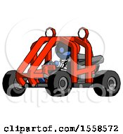 Blue Thief Man Riding Sports Buggy Side Angle View