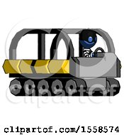 Blue Thief Man Driving Amphibious Tracked Vehicle Side Angle View