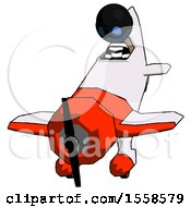 Blue Thief Man In Geebee Stunt Plane Descending Front Angle View