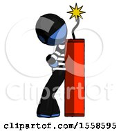 Blue Thief Man Leaning Against Dynimate Large Stick Ready To Blow