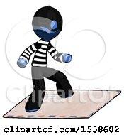 Blue Thief Man On Postage Envelope Surfing