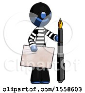 Blue Thief Man Holding Large Envelope And Calligraphy Pen