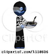 Blue Thief Man Holding Noodles Offering To Viewer