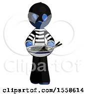 Blue Thief Man Serving Or Presenting Noodles