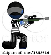 Blue Thief Man Kneeling Shooting Sniper Rifle
