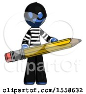 Blue Thief Man Writer Or Blogger Holding Large Pencil
