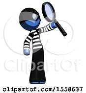 Blue Thief Man Inspecting With Large Magnifying Glass Facing Up