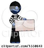 Blue Thief Man Presenting Large Envelope