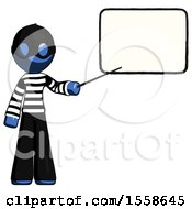 Blue Thief Man Giving Presentation In Front Of Dry Erase Board