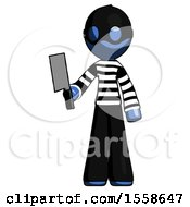 Blue Thief Man Holding Meat Cleaver