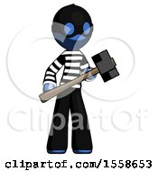 Blue Thief Man With Sledgehammer Standing Ready To Work Or Defend