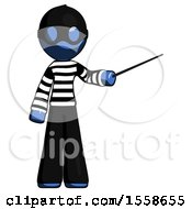 Blue Thief Man Teacher Or Conductor With Stick Or Baton Directing
