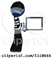 Blue Thief Man Show Tablet Device Computer To Viewer Blank Area