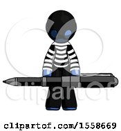 Blue Thief Man Weightlifting A Giant Pen