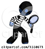 Blue Thief Man Inspecting With Large Magnifying Glass Right