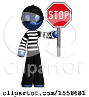 Blue Thief Man Holding Stop Sign
