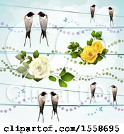 Swallow Birds On Wires With Roses And Dots