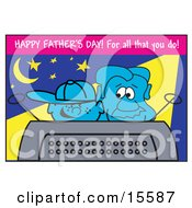 Happy Boy Watching Tv With His Dad On Fathers Day Clipart Illustration