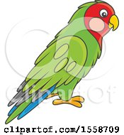 Clipart Of A Green Lovebird Royalty Free Vector Illustration