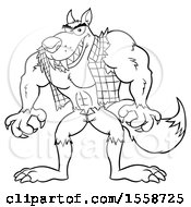 Clipart Of A Black And White Muscular Werewolf Royalty Free Vector Illustration