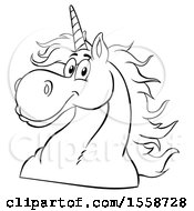 Clipart Of A Black And White Unicorn Mascot Royalty Free Vector Illustration
