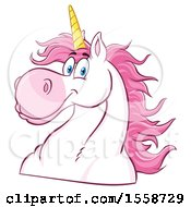 Clipart Of A Pink And White Unicorn Mascot Royalty Free Vector Illustration