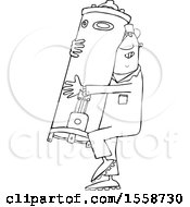 Clipart Of A Cartoon Lineart Black Plumber Worker Man Carrying A Water Heater Royalty Free Vector Illustration