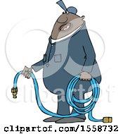Poster, Art Print Of Cartoon Chubby Black Worker Man Holding An Air Hose