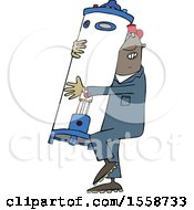 Clipart Of A Cartoon Black Plumber Worker Man Carrying A Water Heater Royalty Free Vector Illustration