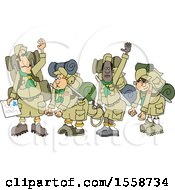 Clipart Of A Boy Scout Troop And Leader Waving Goodbye Before Backpacking Royalty Free Vector Illustration