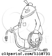 Clipart Of A Cartoon Lineart Chubby Black Worker Man Holding An Air Hose Royalty Free Vector Illustration