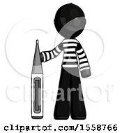Black Thief Man Standing With Large Thermometer