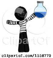 Black Thief Man Holding Large Round Flask Or Beaker