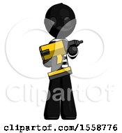 Black Thief Man Holding Large Drill