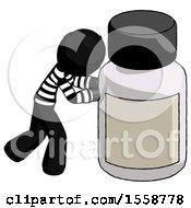 Black Thief Man Pushing Large Medicine Bottle