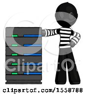 Black Thief Man With Server Rack Leaning Confidently Against It