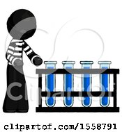 Black Thief Man Using Test Tubes Or Vials On Rack