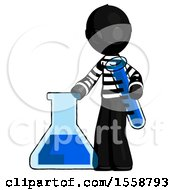 Black Thief Man Holding Test Tube Beside Beaker Or Flask