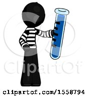 Black Thief Man Holding Large Test Tube