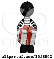 Black Thief Man Gifting Present With Large Bow Front View