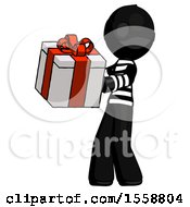 Black Thief Man Presenting A Present With Large Red Bow On It