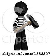 Black Thief Man Holding Hammer Ready To Work