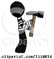 Black Thief Man Hammering Something On The Right