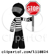 Black Thief Man Holding Stop Sign