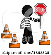 Black Thief Man Holding Stop Sign By Traffic Cones Under Construction Concept