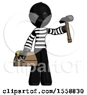 Black Thief Man Holding Tools And Toolchest Ready To Work