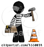 Black Thief Man Under Construction Concept Traffic Cone And Tools