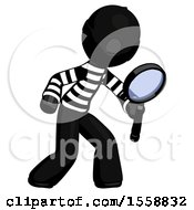 Black Thief Man Inspecting With Large Magnifying Glass Right